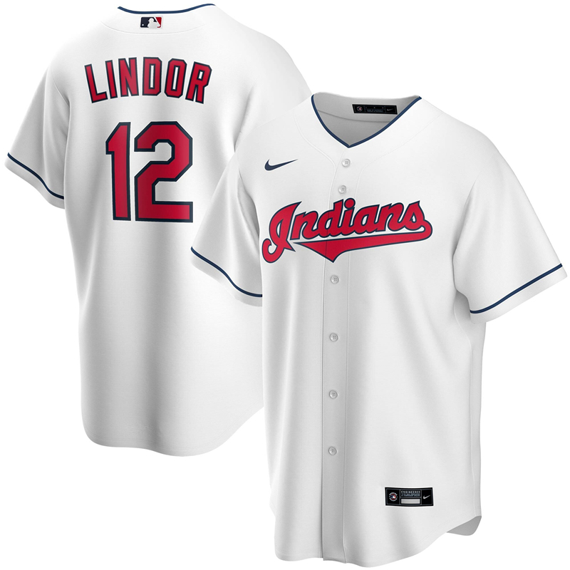 2020 MLB Men Cleveland Indians 12 Francisco Lindor Nike White Home 2020 Replica Player Jersey 1
