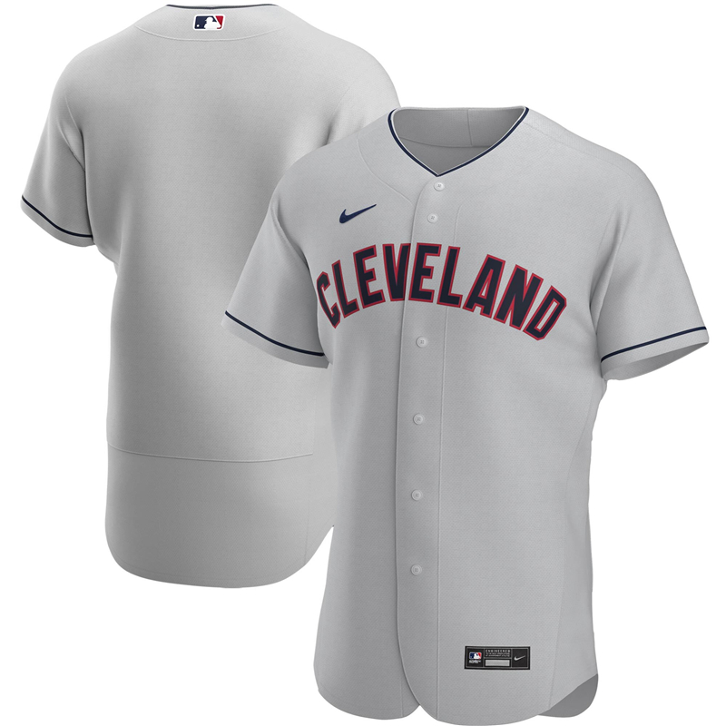 2020 MLB Men Cleveland Indians Nike Gray Road 2020 Authentic Official Team Jersey 1