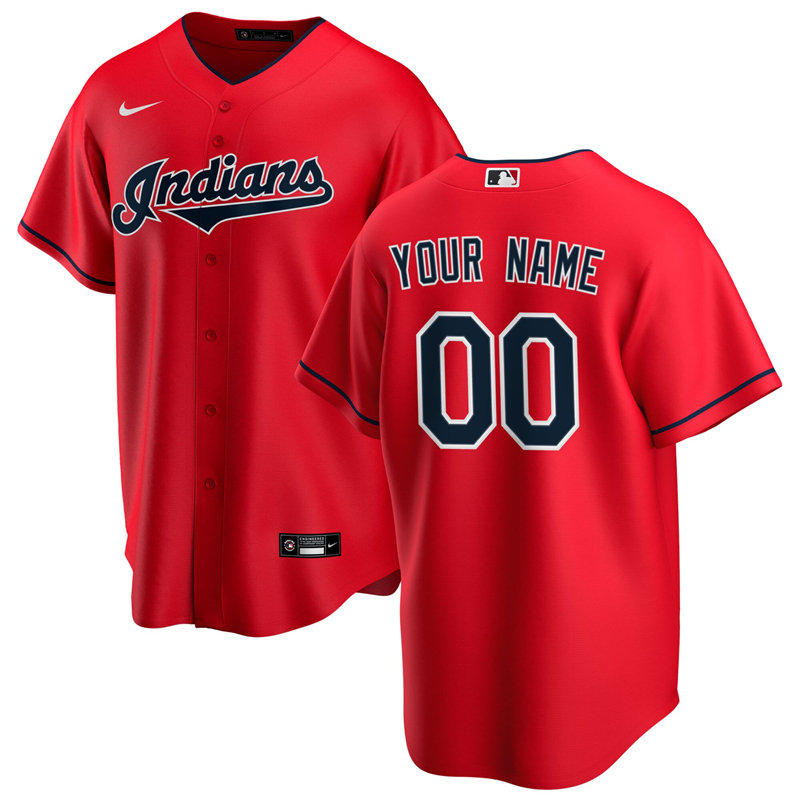 2020 MLB Men Cleveland Indians Nike Red Alternate 2020 Replica Custom Jersey 1