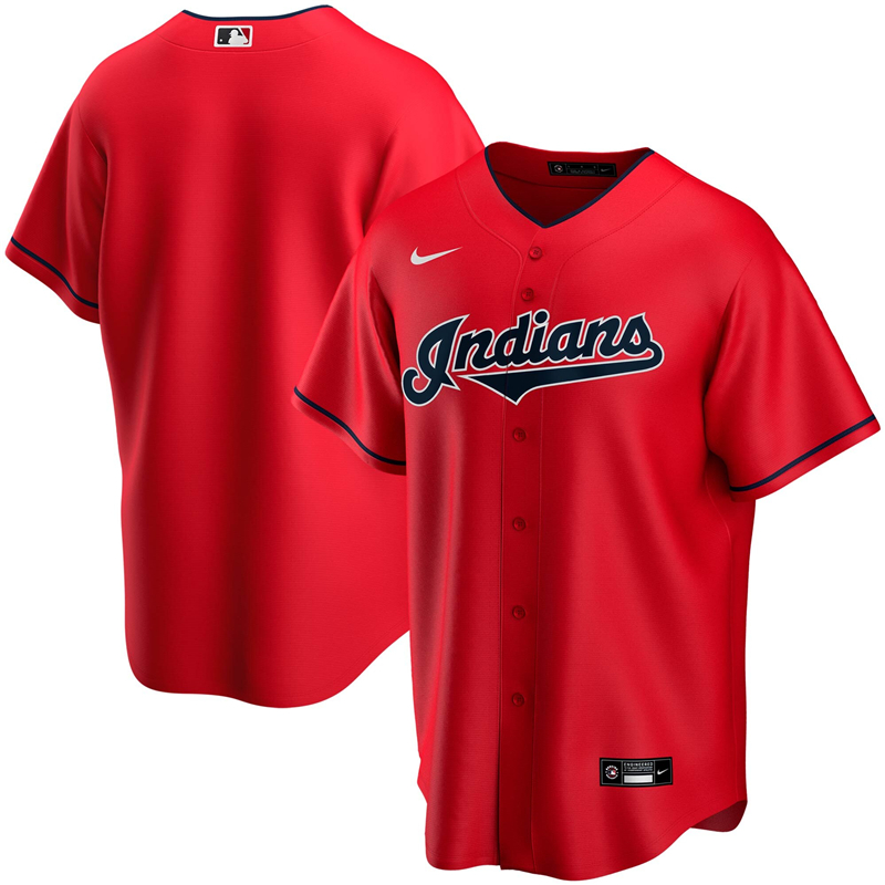 2020 MLB Men Cleveland Indians Nike Red Alternate 2020 Replica Team Jersey 1