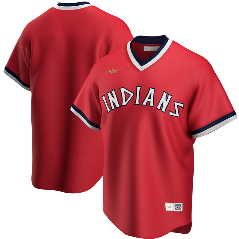 2020 MLB Men Cleveland Indians Nike Red Road Cooperstown Collection Team Jersey 1