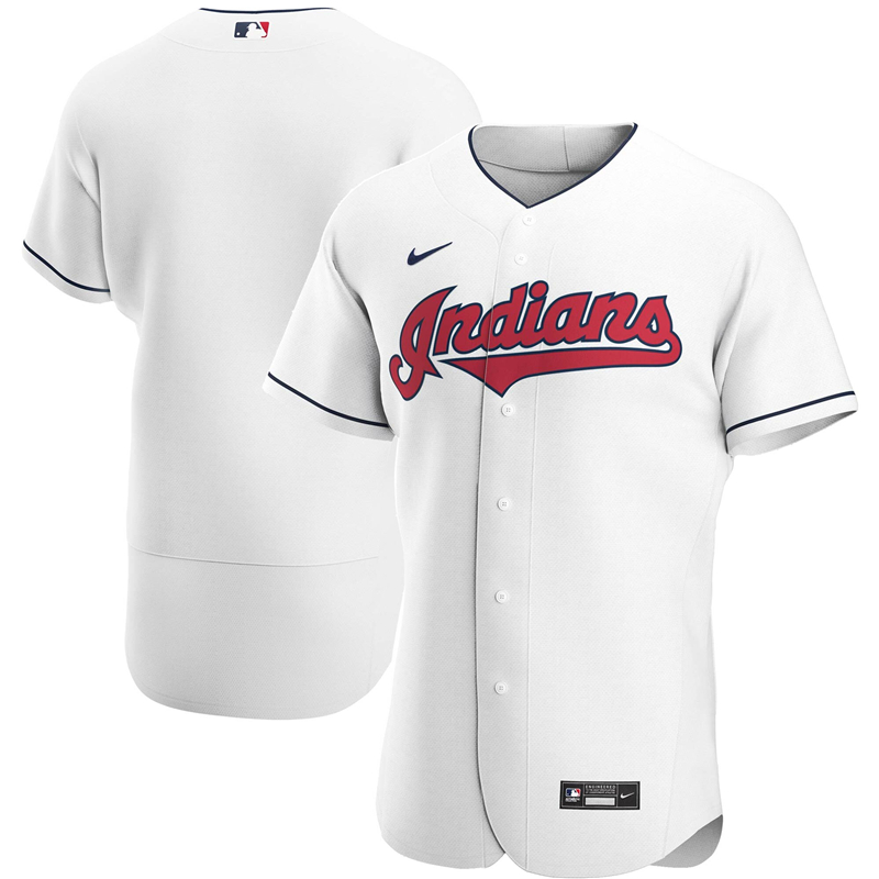 2020 MLB Men Cleveland Indians Nike White Home 2020 Authentic Team Jersey 1