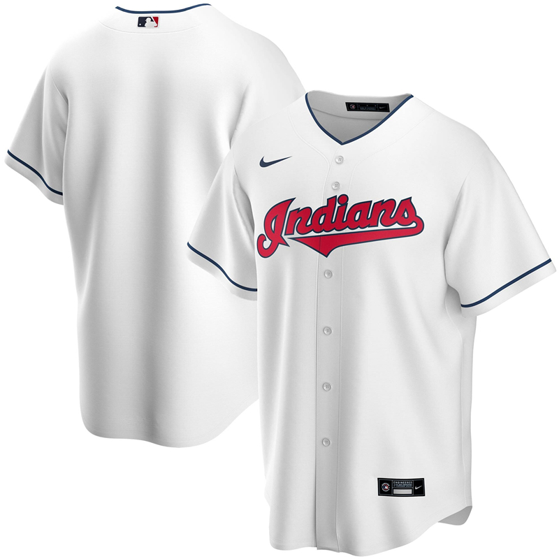 2020 MLB Men Cleveland Indians Nike White Home 2020 Replica Team Jersey 1