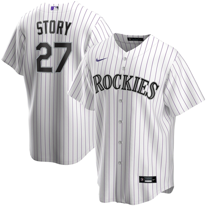 2020 MLB Men Colorado Rockies 27 Trevor Story Nike White Home 2020 Replica Player Jersey 1