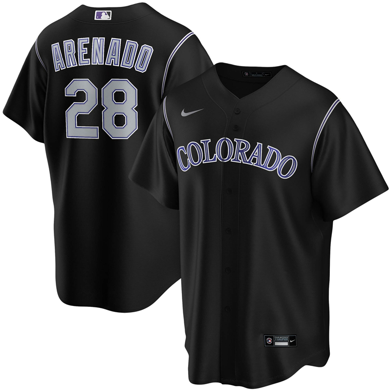 2020 MLB Men Colorado Rockies 28 Nolan Arenado Nike Black Alternate 2020 Replica Player Jersey 1