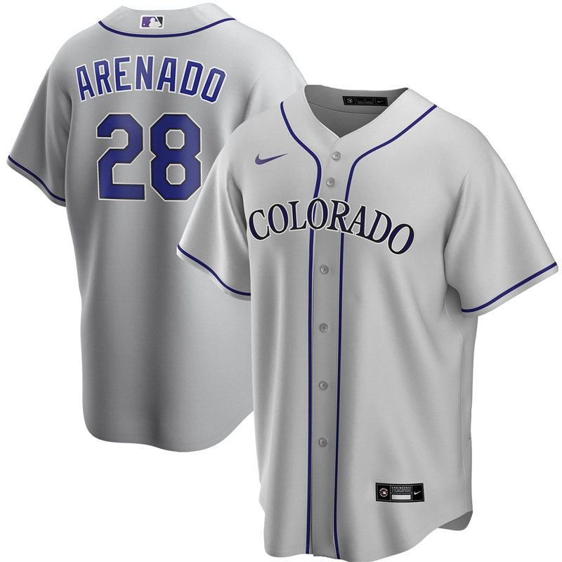 2020 MLB Men Colorado Rockies 28 Nolan Arenado Nike Gray Road 2020 Replica Player Jersey 1