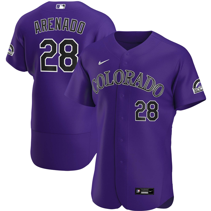 2020 MLB Men Colorado Rockies 28 Nolan Arenado Nike Purple Alternate 2020 Authentic Player Jersey 1