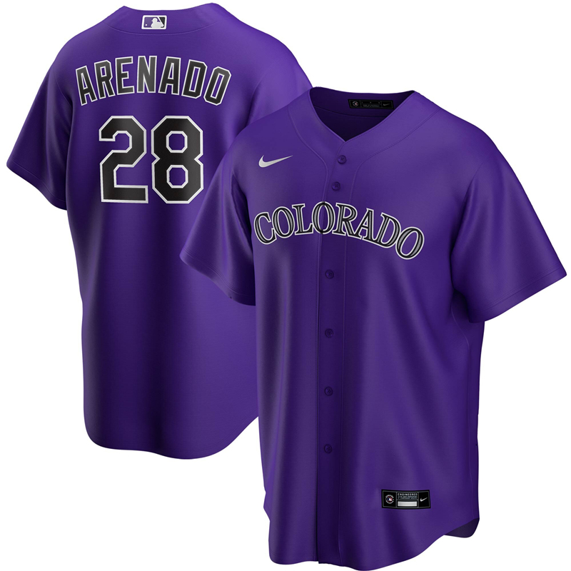 2020 MLB Men Colorado Rockies 28 Nolan Arenado Nike Purple Alternate 2020 Replica Player Jersey 1