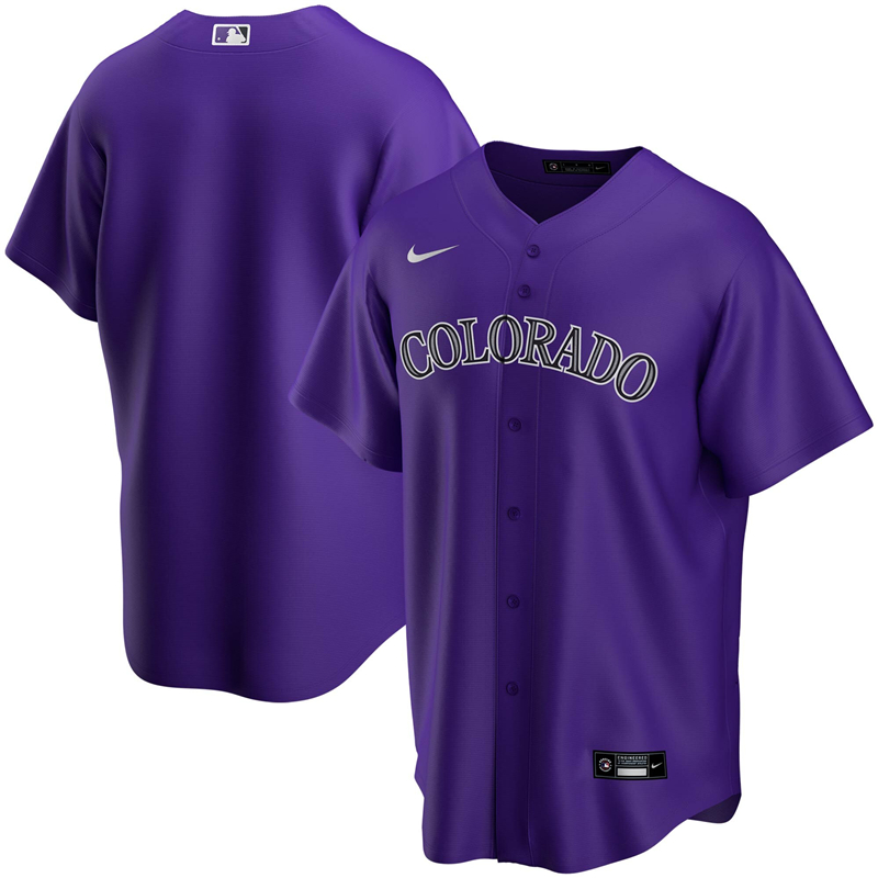 2020 MLB Men Colorado Rockies Nike Purple Alternate 2020 Replica Team Jersey 1
