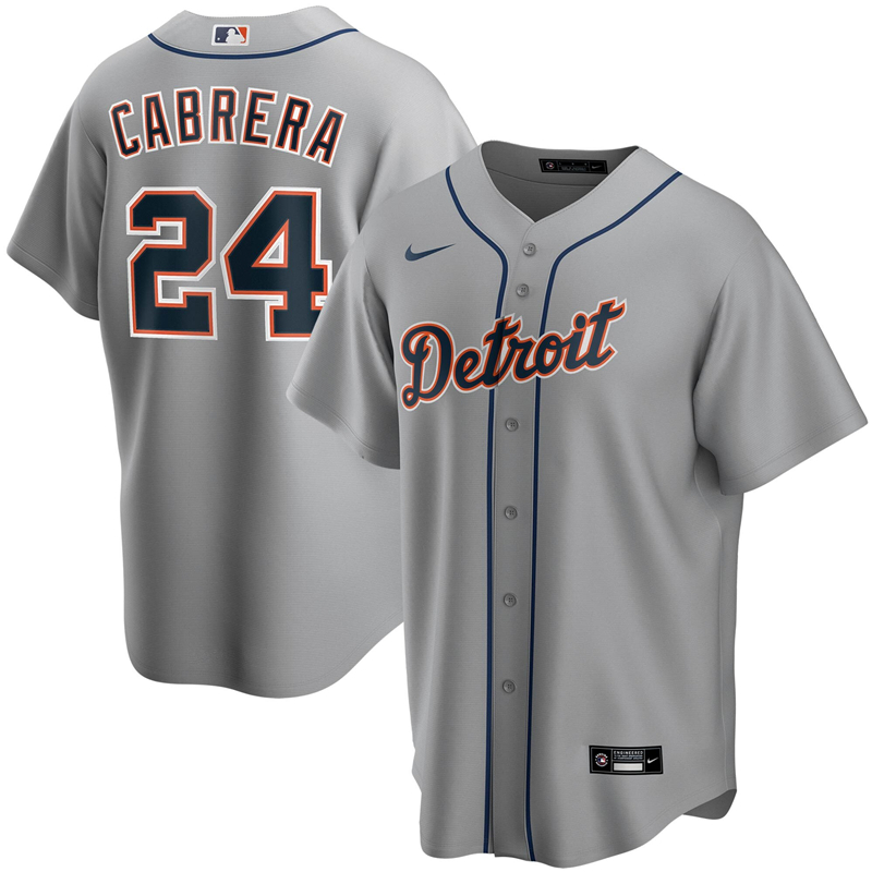 2020 MLB Men Detroit Tigers 24 Miguel Cabrera Nike Gray Road 2020 Replica Player Jersey 1