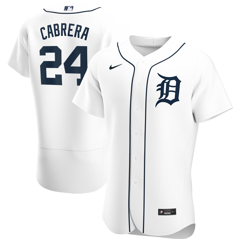 2020 MLB Men Detroit Tigers 24 Miguel Cabrera Nike White Home 2020 Authentic Player Jersey 1
