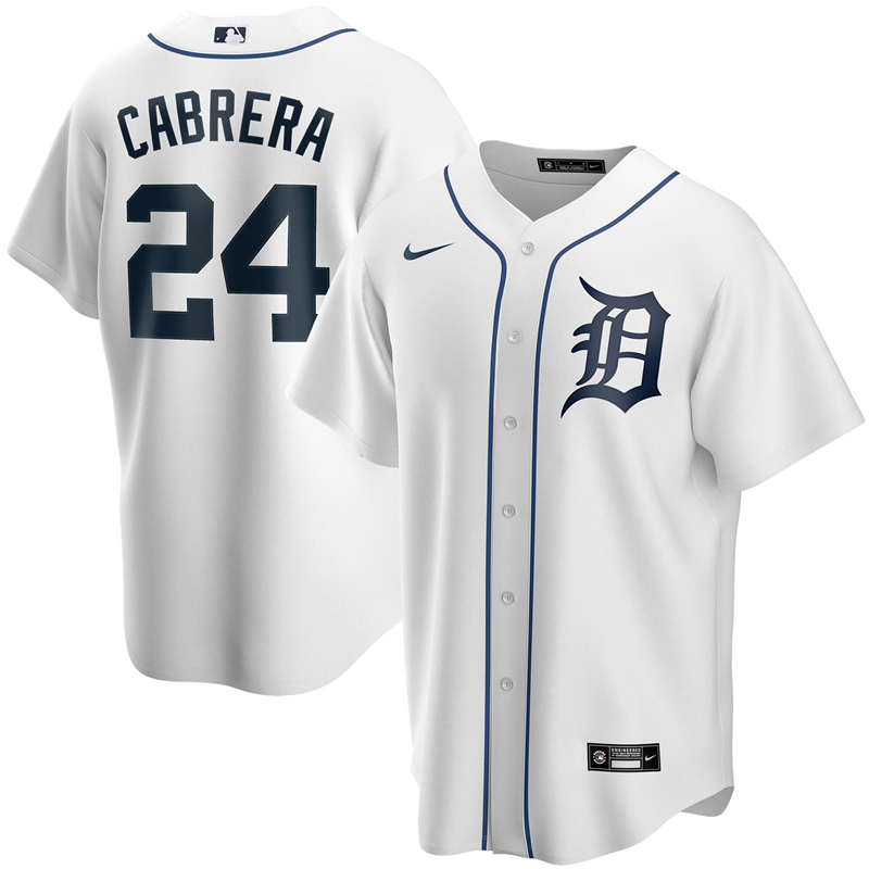 2020 MLB Men Detroit Tigers 24 Miguel Cabrera Nike White Home 2020 Replica Player Jersey 1