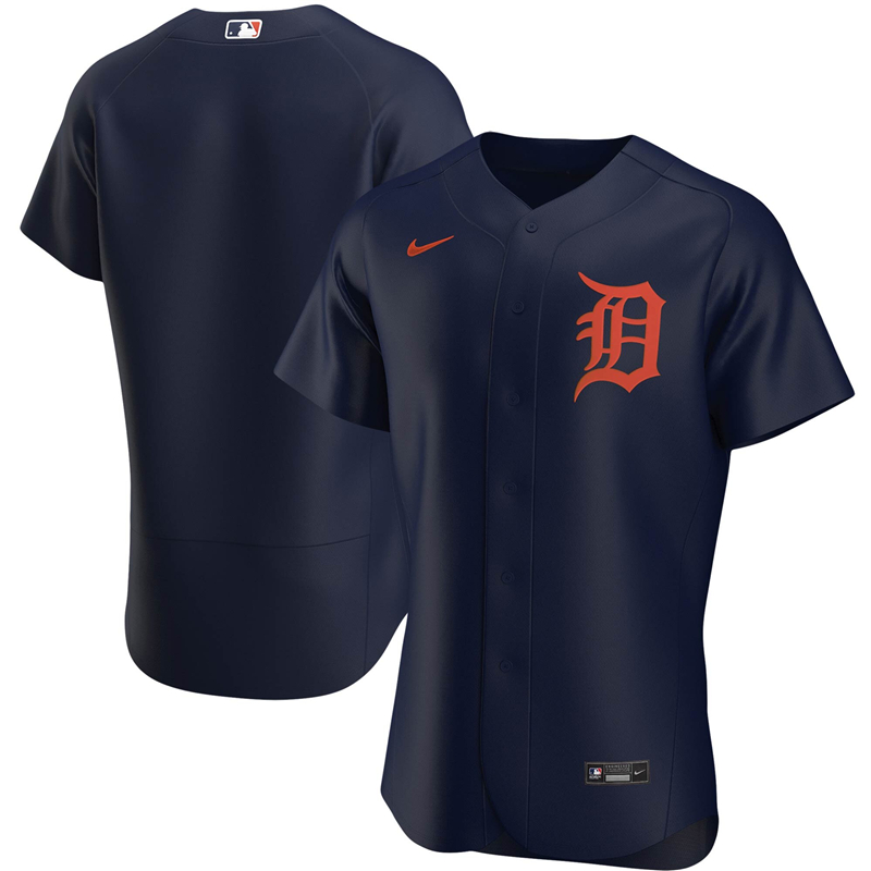 2020 MLB Men Detroit Tigers Nike Navy Alternate 2020 Authentic Team Jersey 1
