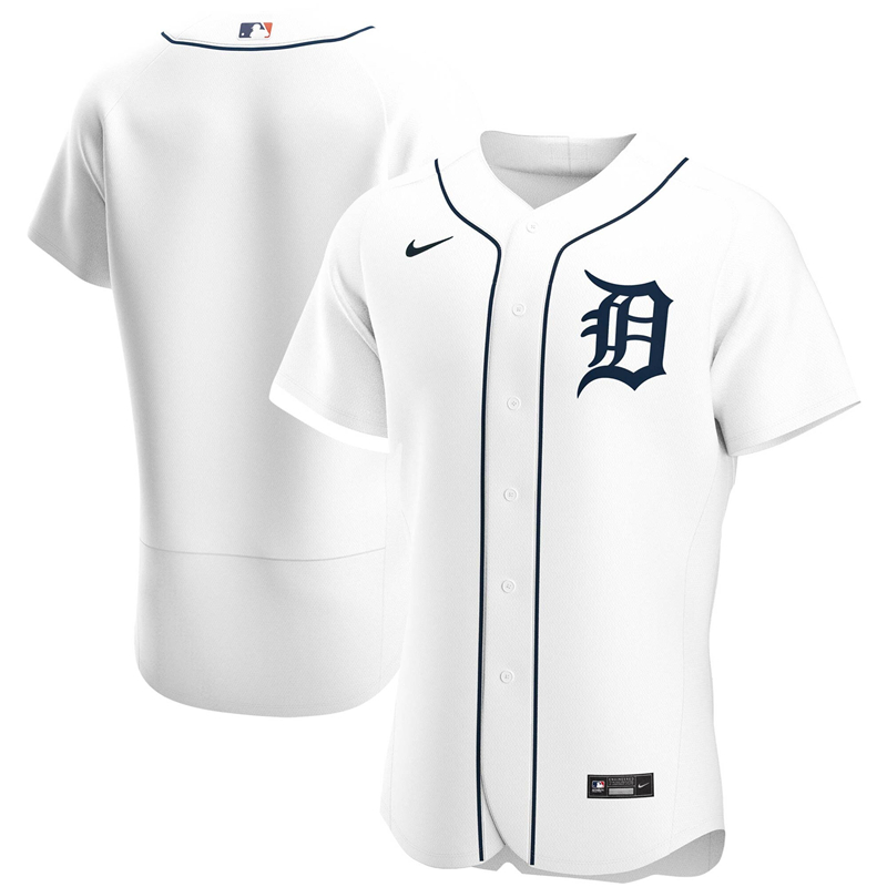 2020 MLB Men Detroit Tigers Nike White Home 2020 Authentic Official Team Jersey 1