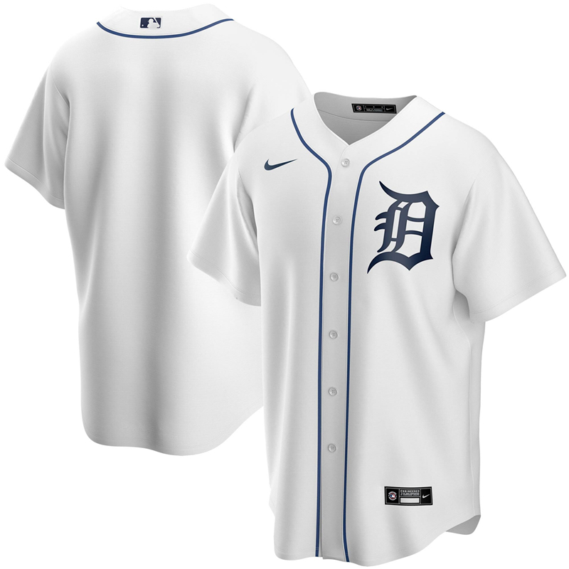 2020 MLB Men Detroit Tigers Nike White Home 2020 Replica Team Jersey 1