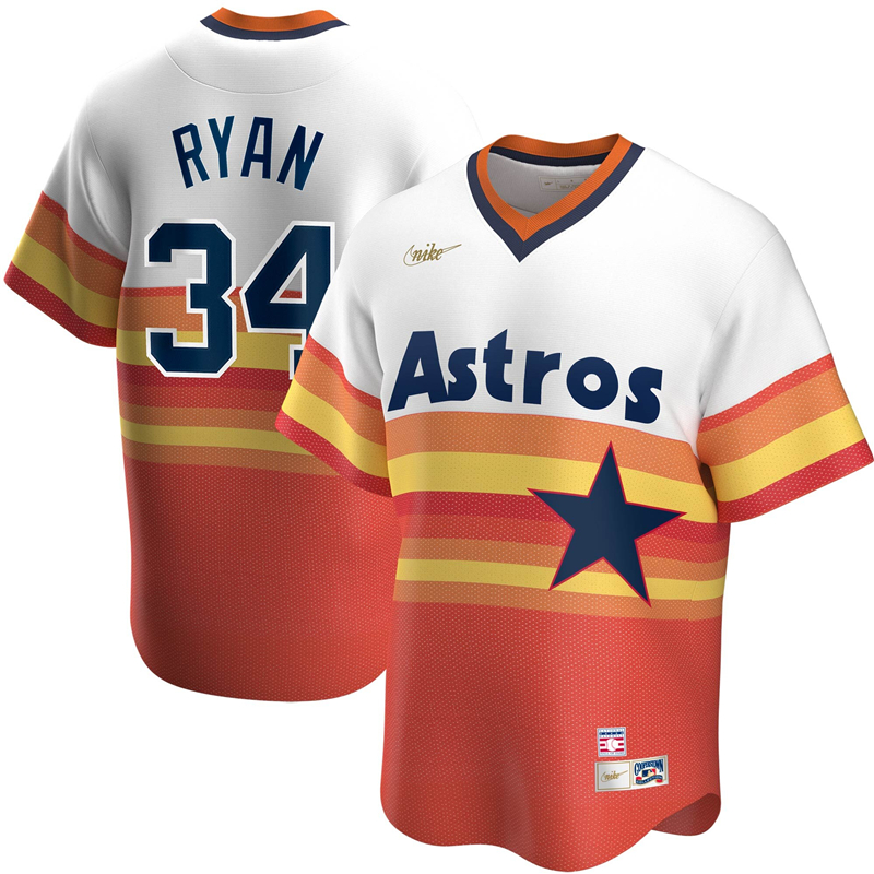 2020 MLB Men Houston Astros 34 Nolan Ryan Nike White Home Cooperstown Collection Player Jersey 1