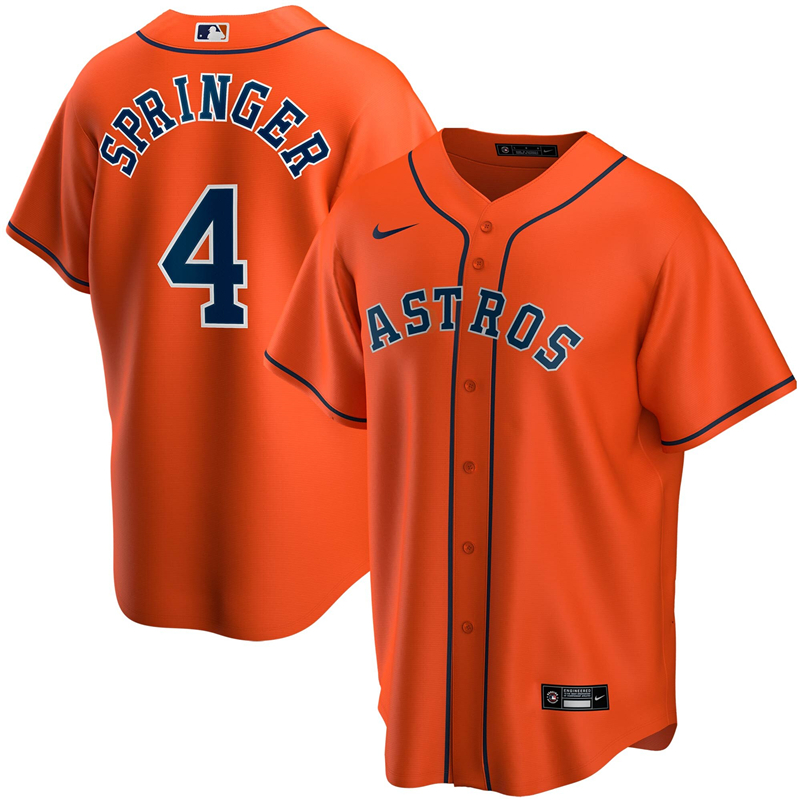 2020 MLB Men Houston Astros 4 George Springer Nike Orange Alternate 2020 Replica Player Jersey 1