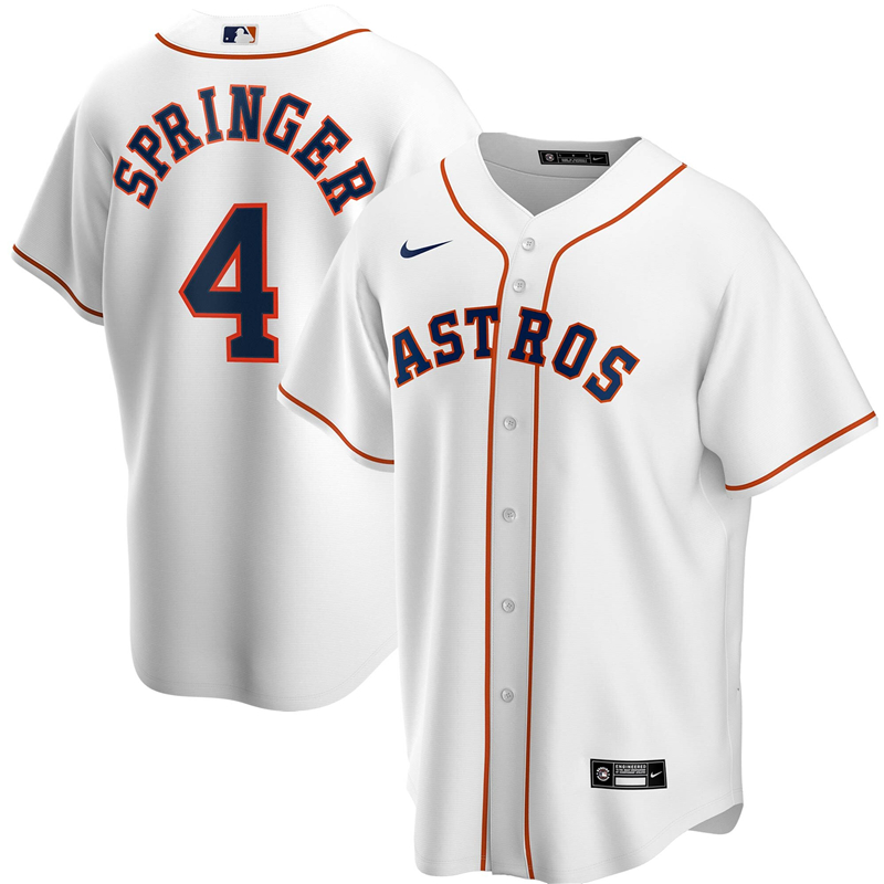 2020 MLB Men Houston Astros 4 George Springer Nike White Home 2020 Replica Player Jersey 1