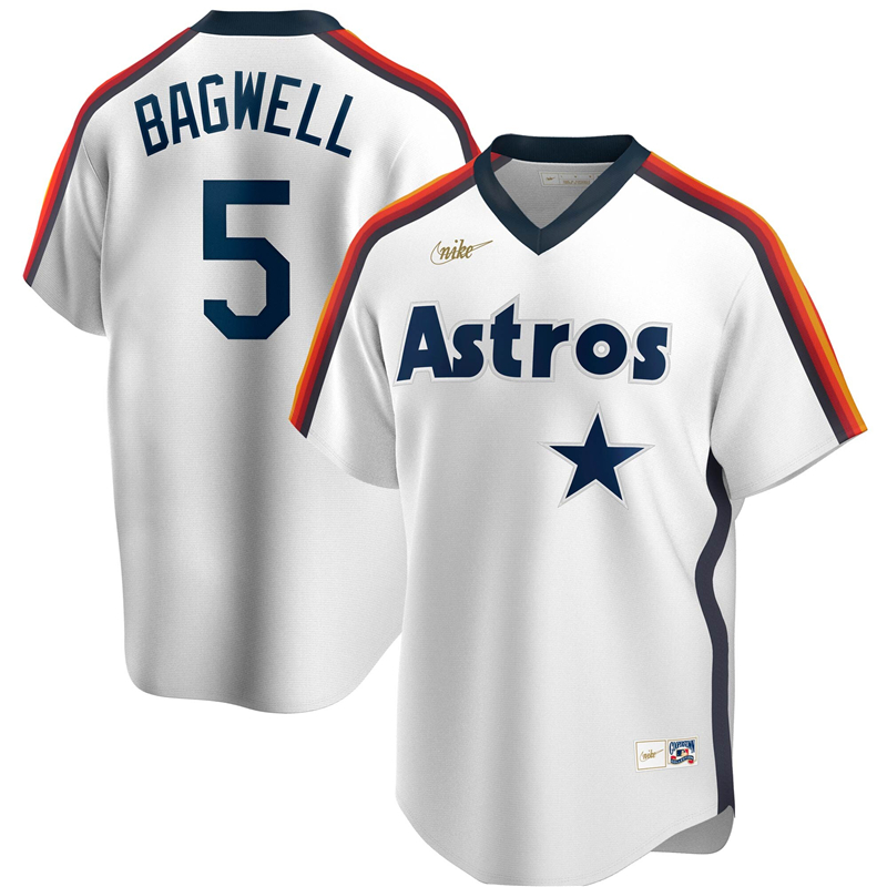 2020 MLB Men Houston Astros 5 Jeff Bagwell Nike White Home Cooperstown Collection Logo Player Jersey 1