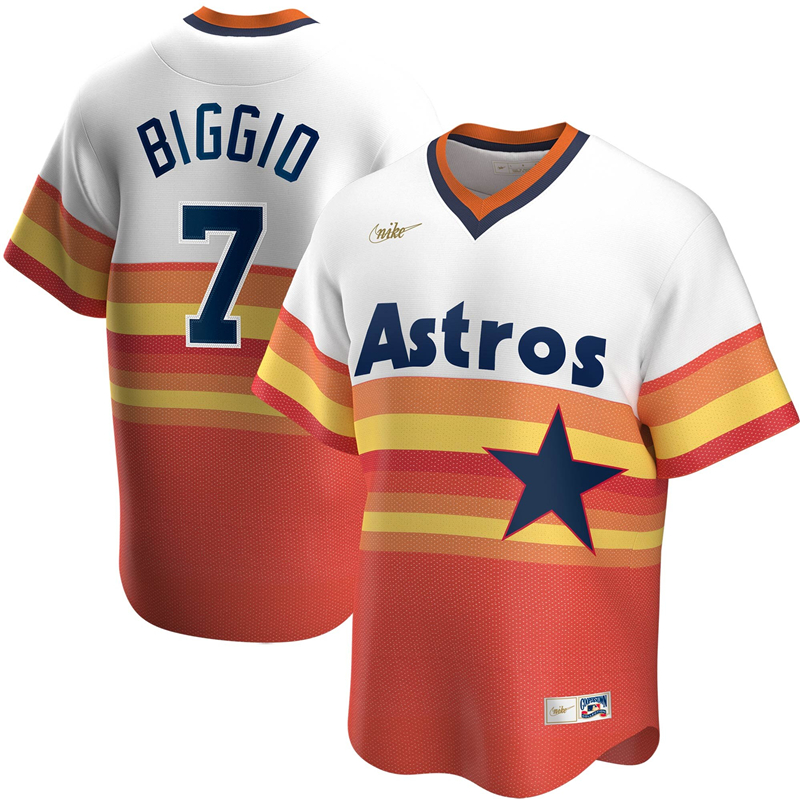 2020 MLB Men Houston Astros 7 Craig Biggio Nike White Home Cooperstown Collection Player Jersey 1