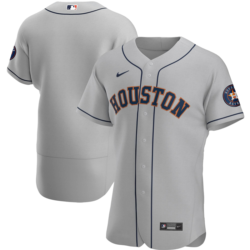 2020 MLB Men Houston Astros Nike Gray Road 2020 Authentic Official Team Jersey 1