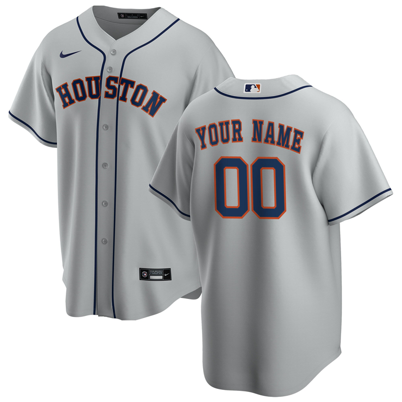 2020 MLB Men Houston Astros Nike Gray Road 2020 Replica Custom Jersey 1