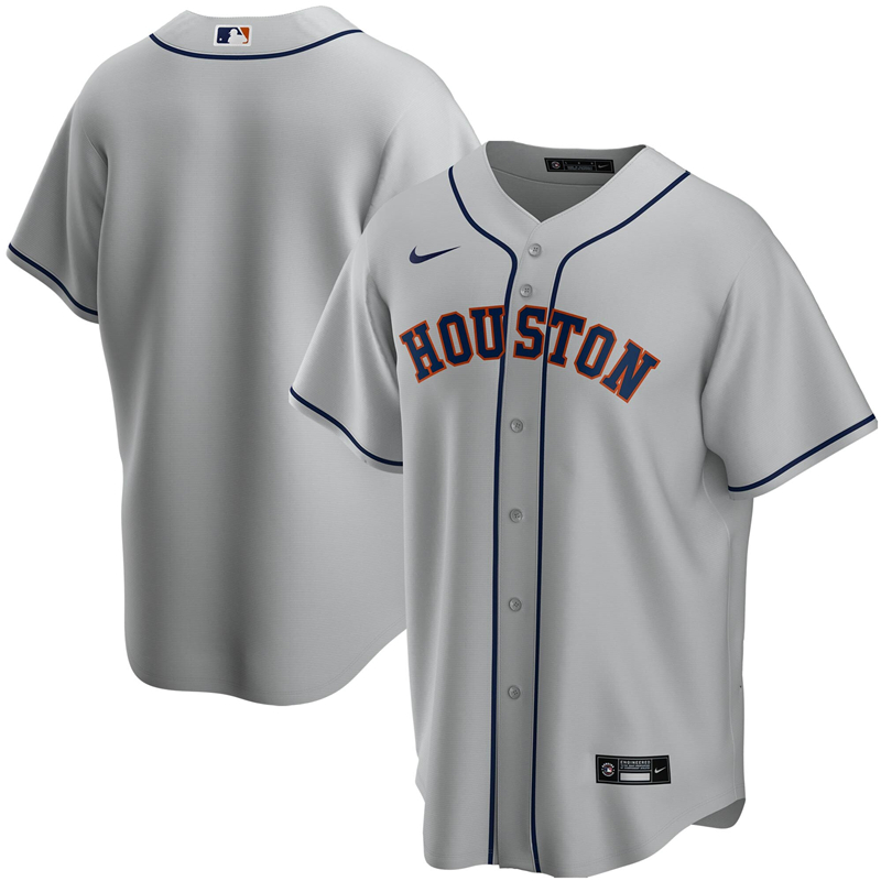 2020 MLB Men Houston Astros Nike Gray Road 2020 Replica Team Jersey 1