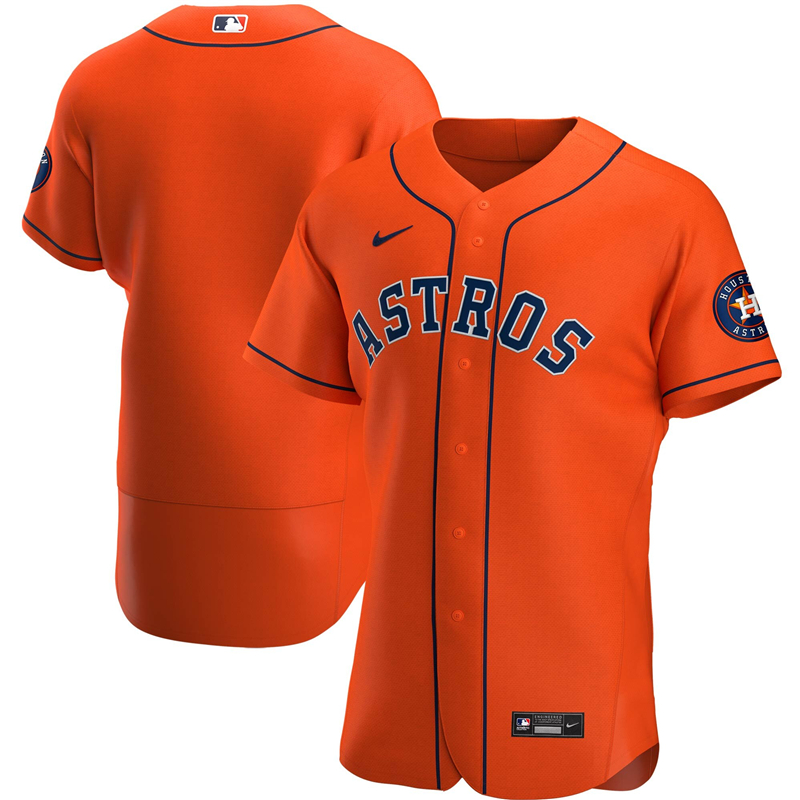 2020 MLB Men Houston Astros Nike Orange Alternate 2020 Authentic Team Jersey 1