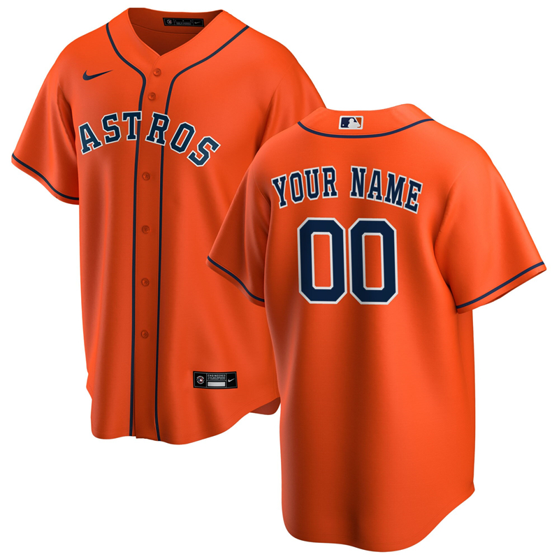 2020 MLB Men Houston Astros Nike Orange Alternate 2020 Replica Custom Jersey 1