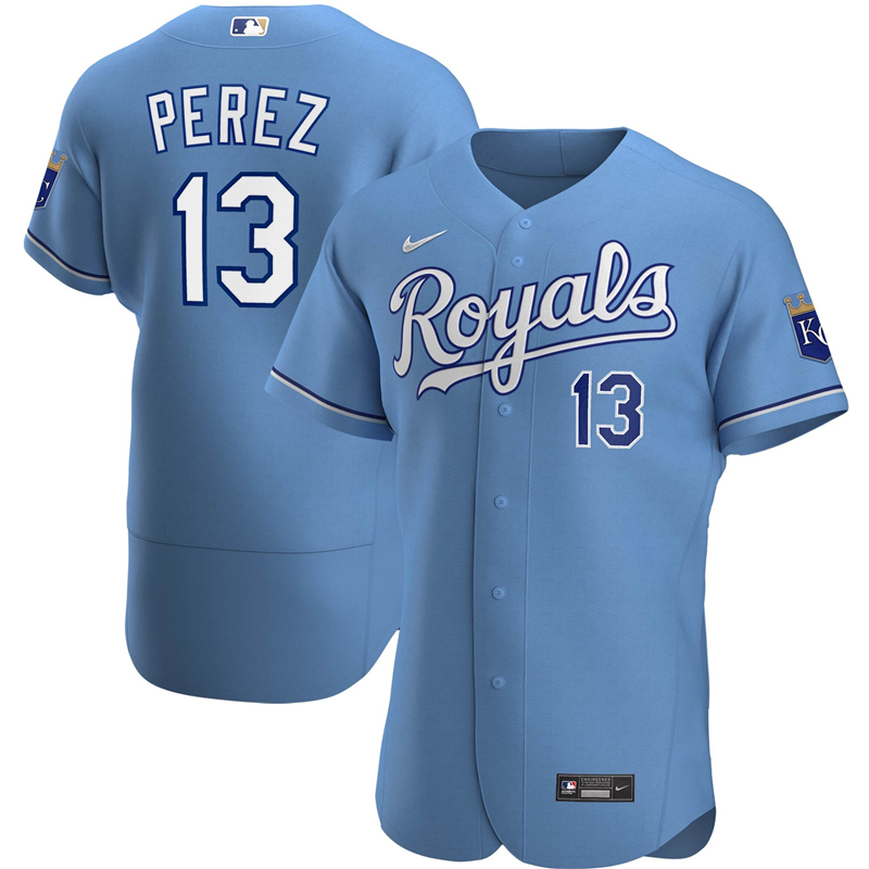 2020 MLB Men Kansas City Royals 13 Salvador Perez Nike Light Blue Alternate 2020 Authentic Player Jersey 1
