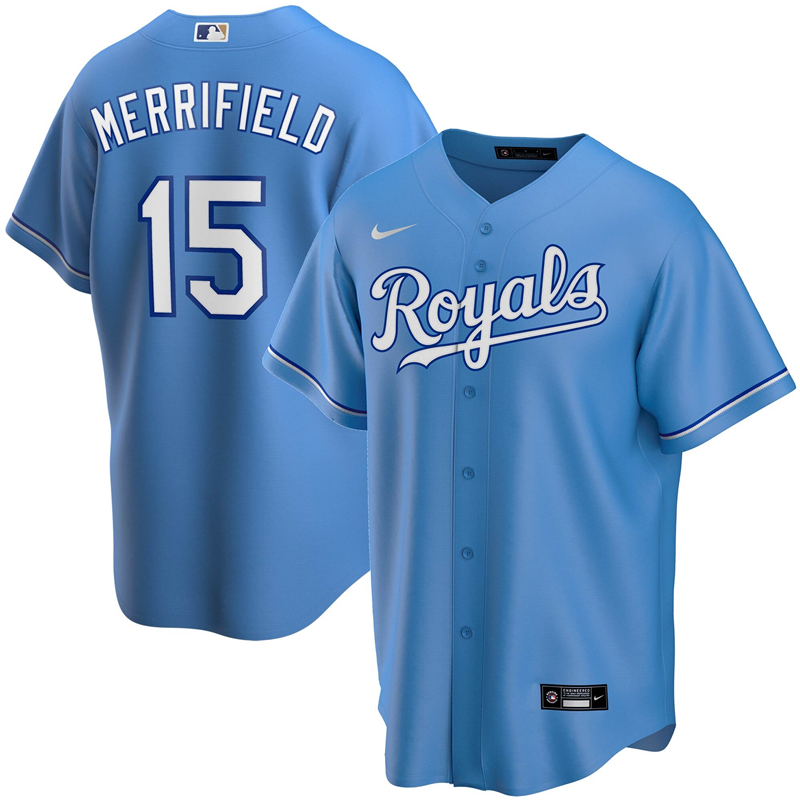 2020 MLB Men Kansas City Royals 15 Whit Merrifield Nike Light Blue Alternate 2020 Replica Player Jersey 1