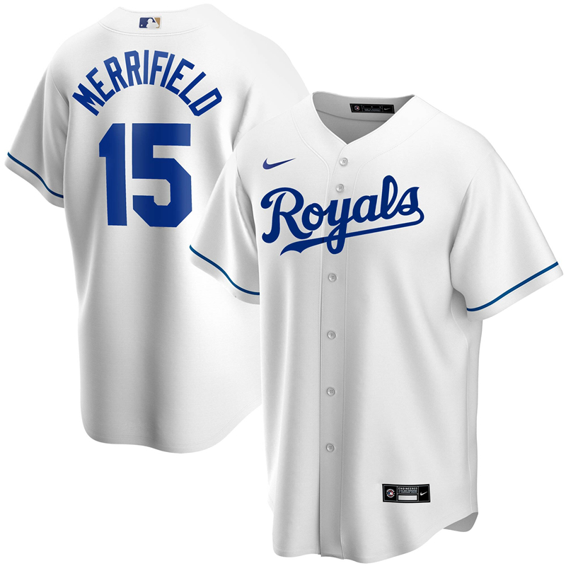 2020 MLB Men Kansas City Royals 15 Whit Merrifield Nike White Home 2020 Replica Player Jersey 1