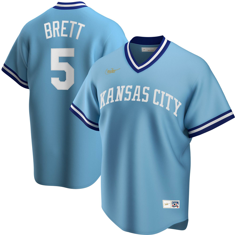 2020 MLB Men Kansas City Royals 5 George Brett Nike Light Blue Road Cooperstown Collection Player Jersey 1