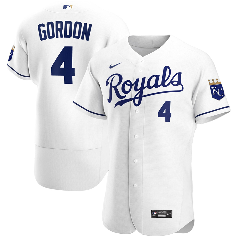 2020 MLB Men Kansas City Royals Alex Gordon Nike White Home 2020 Authentic Player Jersey 1