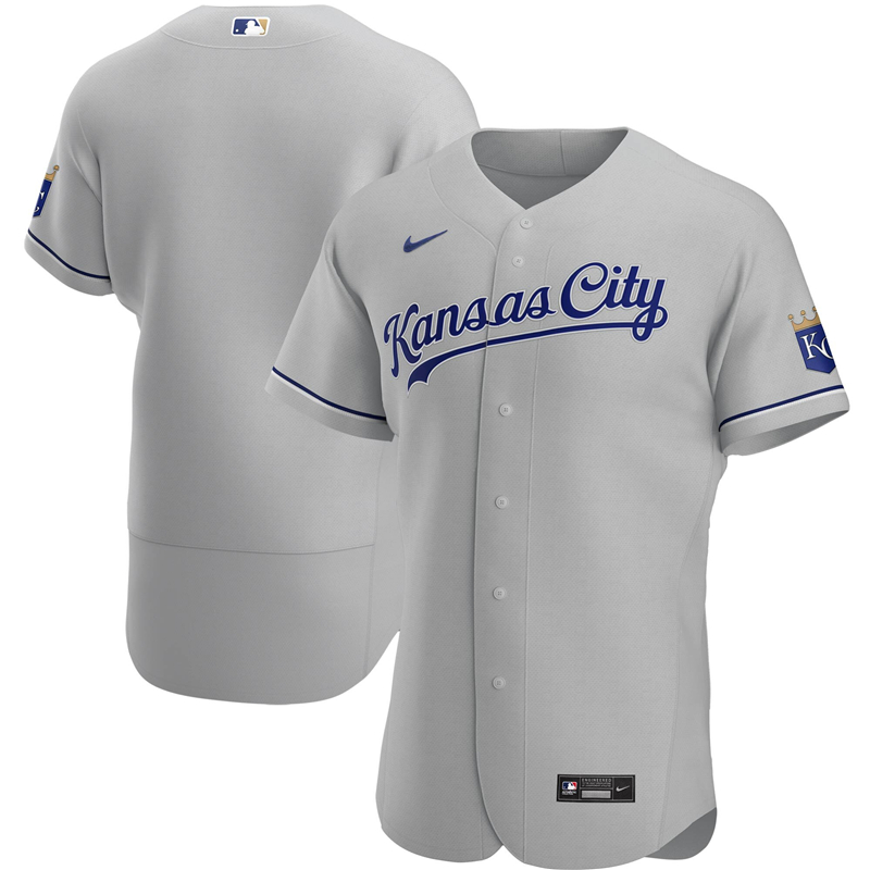2020 MLB Men Kansas City Royals Nike Gray Road 2020 Authentic Jersey 1