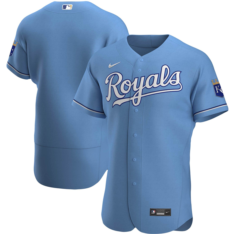 2020 MLB Men Kansas City Royals Nike Light Blue Alternate 2020 Authentic Jersey 1