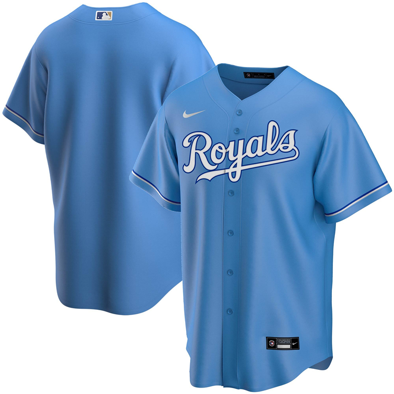 2020 MLB Men Kansas City Royals Nike Light Blue Alternate 2020 Replica Team Jersey 1