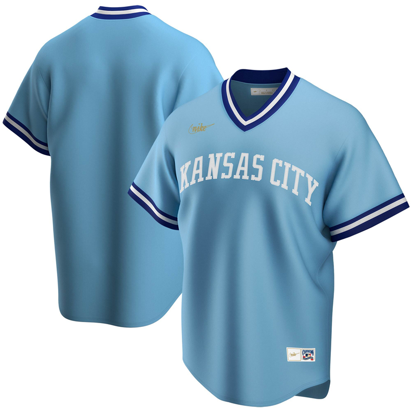 2020 MLB Men Kansas City Royals Nike Light Blue Road Cooperstown Collection Team Jersey 1
