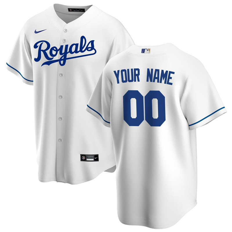 2020 MLB Men Kansas City Royals Nike White Home 2020 Replica Custom Jersey 1