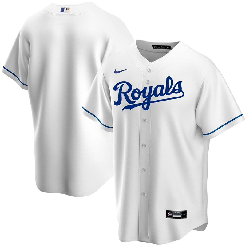 2020 MLB Men Kansas City Royals Nike White Home 2020 Replica Team Jersey 1