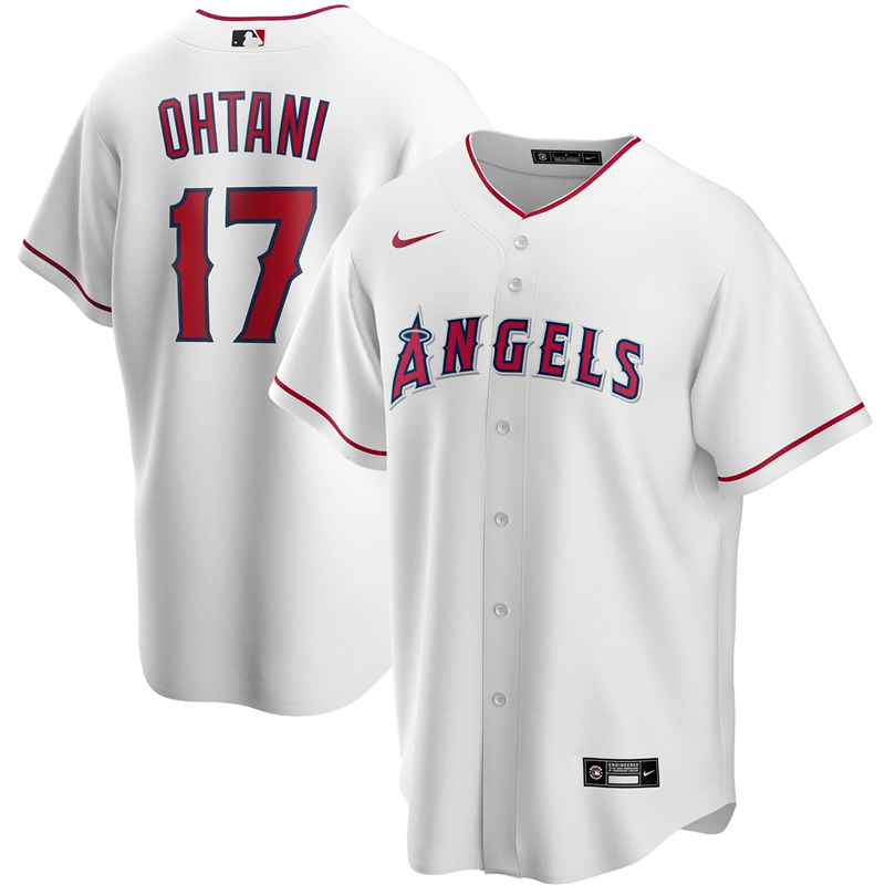 2020 MLB Men Los Angeles 17 Shohei Ohtani Nike White Home 2020 Replica Player Jersey 1