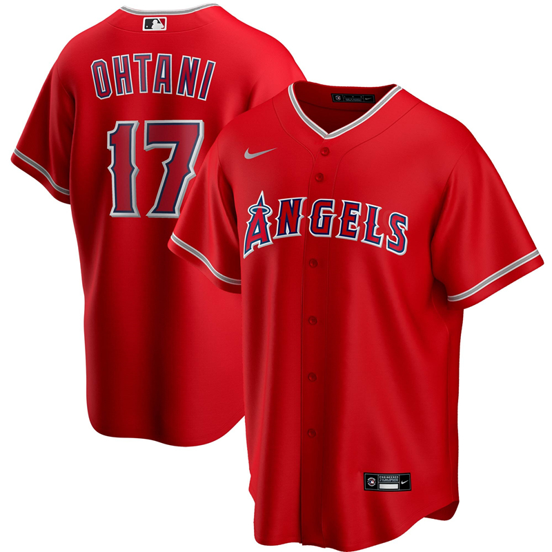 2020 MLB Men Los Angeles Angels 17 Shohei Ohtani Nike Red Alternate 2020 Replica Player Jersey 1