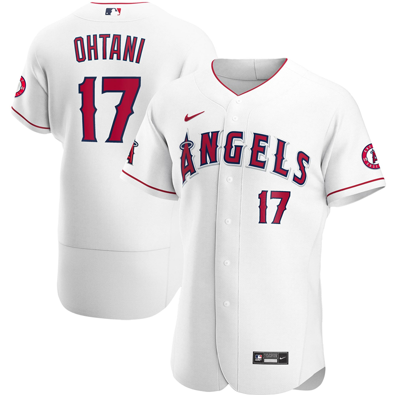 2020 MLB Men Los Angeles Angels 17 Shohei Ohtani Nike White Home 2020 Authentic Player Jersey 1