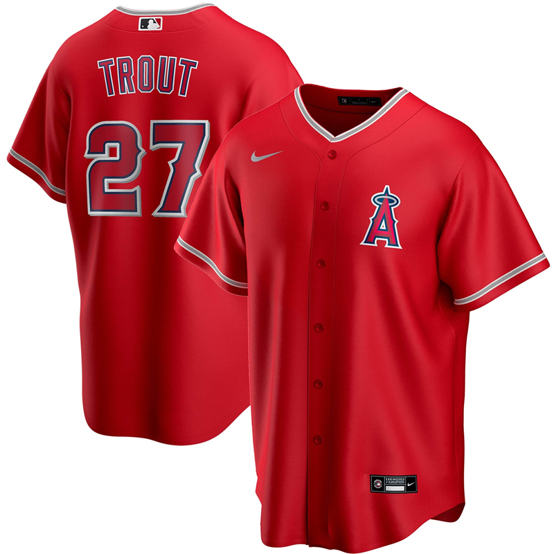 2020 MLB Men Los Angeles Angels 27 Mike Trout Nike Red 2020 Spring Training Replica Player Jersey 1