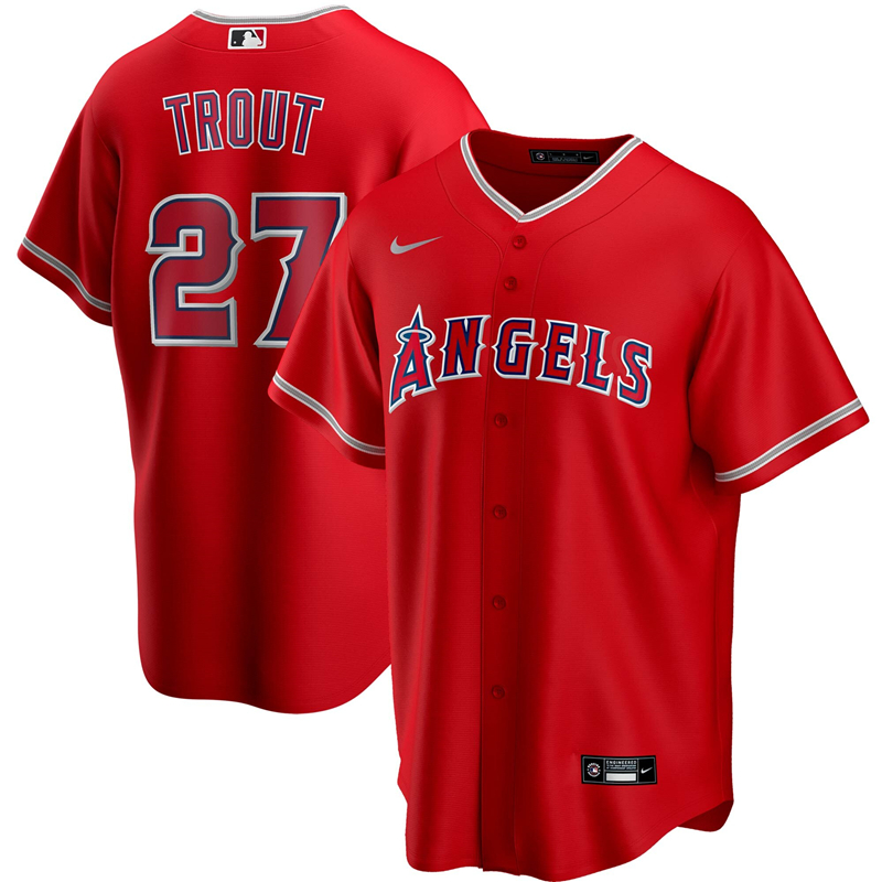 2020 MLB Men Los Angeles Angels 27 Mike Trout Nike Red Alternate 2020 Replica Player Jersey 1