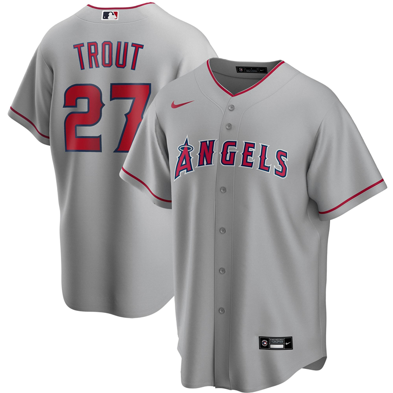 2020 MLB Men Los Angeles Angels 27 Mike Trout Nike Silver Road 2020 Replica Player Jersey 1