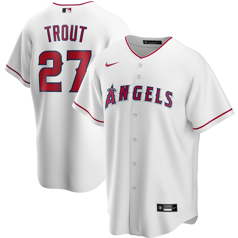 2020 MLB Men Los Angeles Angels 27 Mike Trout Nike White Home 2020 Replica Player Jersey 1
