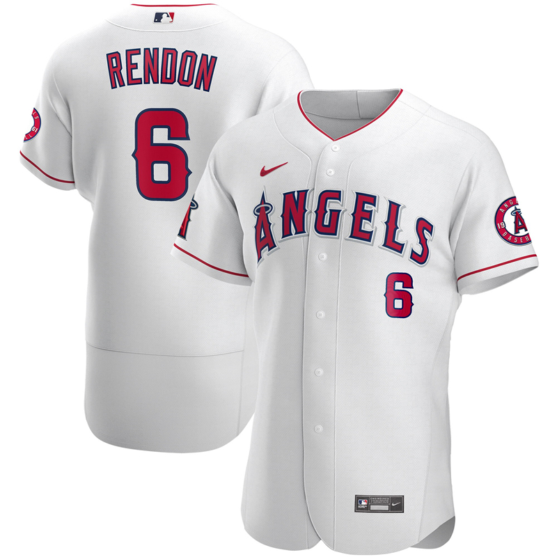 2020 MLB Men Los Angeles Angels 6 Anthony Rendon Nike White Authentic Player Jersey 1