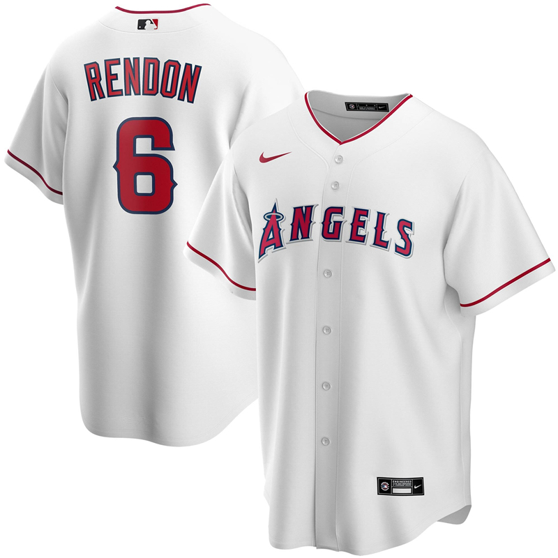 2020 MLB Men Los Angeles Angels 6 Anthony Rendon Nike White Home 2020 Replica Player Jersey 1