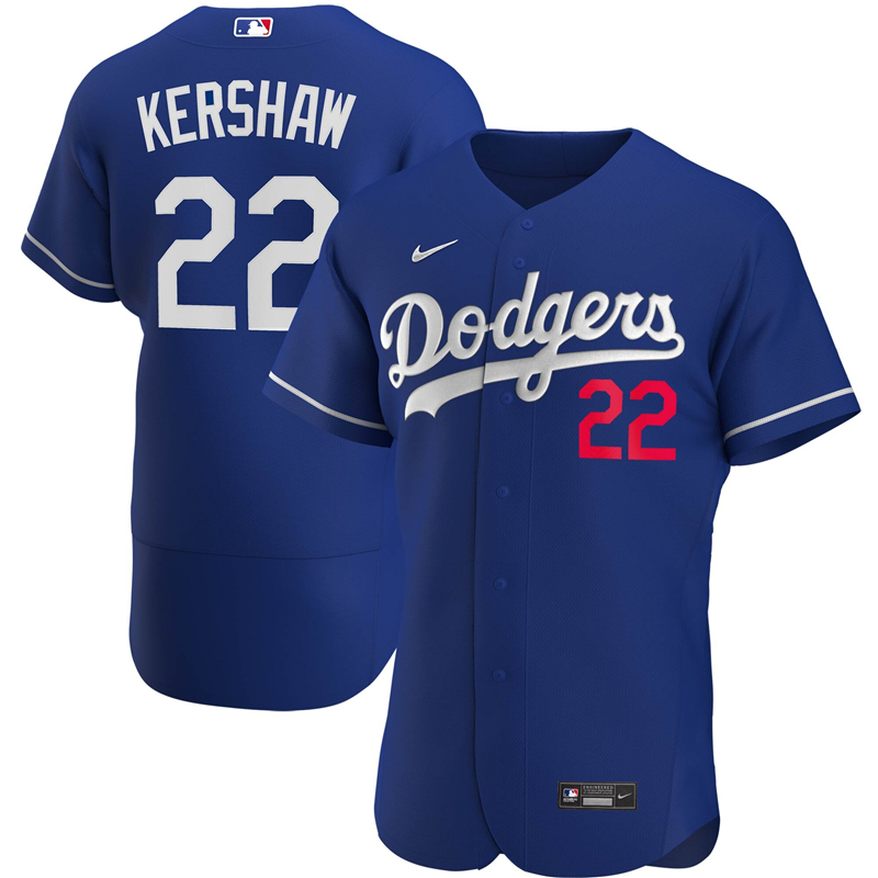 2020 MLB Men Los Angeles Dodgers Clayton Kershaw Nike Royal Alternate 2020 Authentic Player Jersey 1